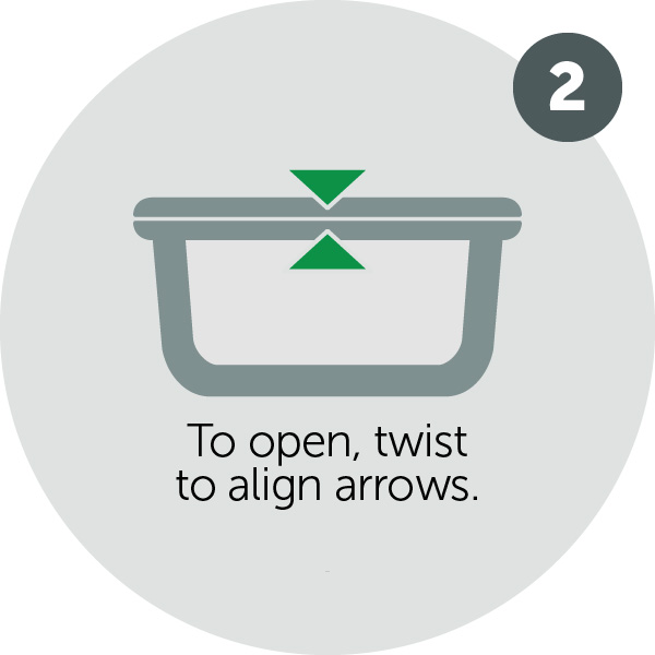 To open, twist to align arrows.